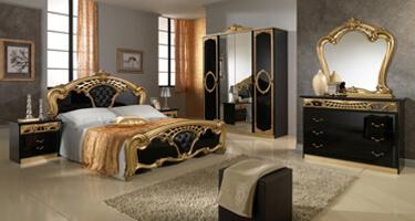 MCS Sara Black and Gold Italian Bedroom
