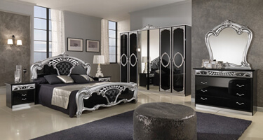 MCS Sara Black and Silver Italian Bedroom