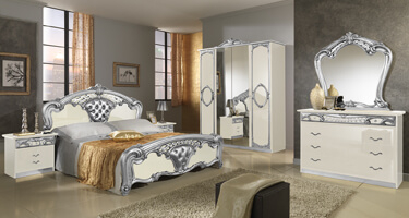 MCS Sara Cream and Silver Italian Bedroom