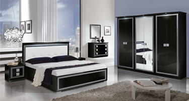 MCS Thema Black Finish Italian Bedroom