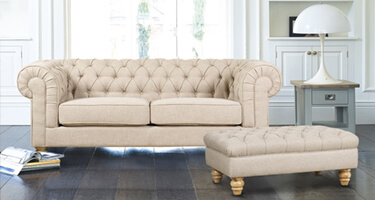 Mark Webster Chesterfield Linen Fabric Sofas