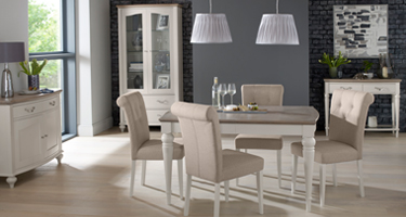 Bentley Designs Montreux Washed Oak and Soft Grey Dining Room