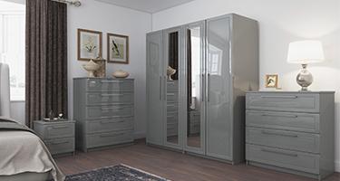 One Call Isla Dust Grey High Gloss Bedroom