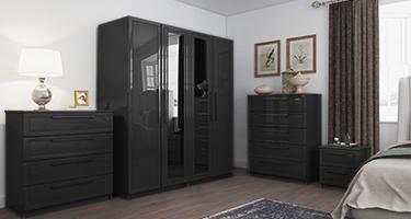 One Call Isla Graphite High Gloss Bedroom