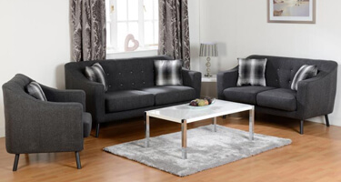 Seconique Ashley Dark Grey Fabric Sofas