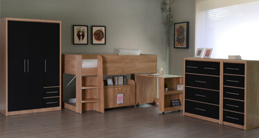 Seconique Seville Light Oak and Black High Gloss Bedroom