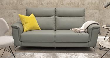 Vida Living Simone Grey Leather Sofa