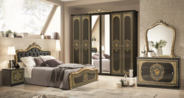 Tuttomobili Alice Black and Golden Finish Bedroom