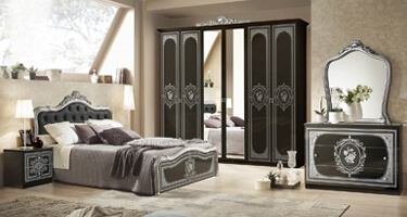 Tuttomobili Alice Black and Silver Finish Bedroom