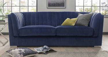 Vida Living Upton Blue Fabric Sofa