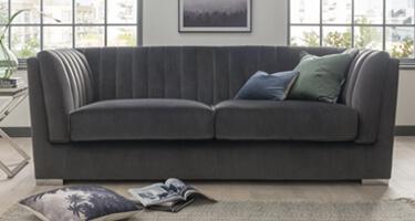 Vida Living Upton Charcoal Fabric Sofa