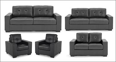 Vida Living Gemona Black Faux Leather Sofas