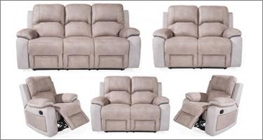 Vida Living Monterray Grey Fabric Recliner Sofas