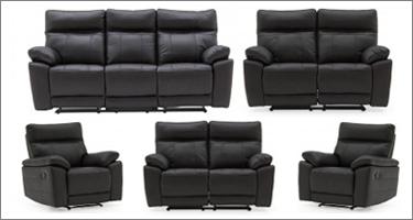 Vida Living Positano Black Leather Recliner Sofas