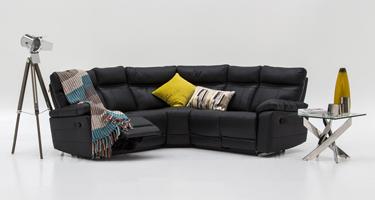 Vida Living Positano Black Leather Sofas