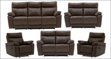 Vida Living Positano Brown Leather Recliner Sofas