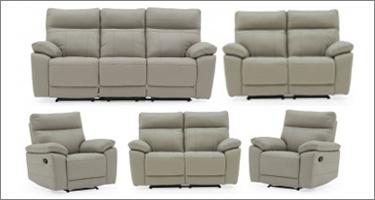 Vida Living Positano Grey Leather Recliner Sofas