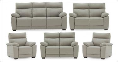 Vida Living Positano Grey Leather Sofas